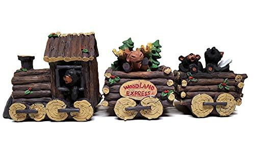 Slifka Sales Co. 3 Piece Bear and Moose Woodland Express Holday Decor Train