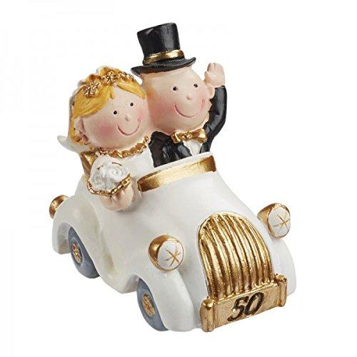 Bruidspaar gouden huwelijk 50 jaar in de auto decoratie taartdecoratie 5,5 cm huwelijk