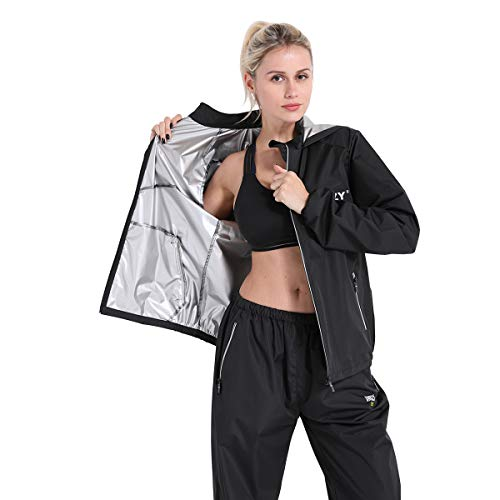 DNRZY FIT Sauna Sweat Jacket Weight Loss for Women Plus Size LooseFitting Sauna Suits Fitness Gym Exercise Workout Clothes Hooded Jacket Pants Suits JacketPants L