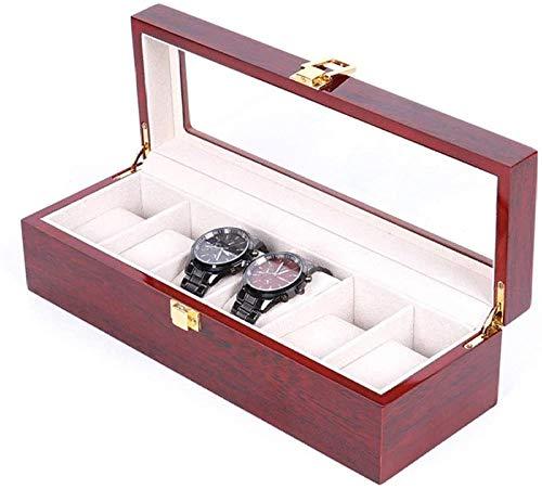 Caja de reloj de 6 ranuras de gama alta caja de almacenamiento de reloj caja de exhibición de joyería ligera caja de exhibición