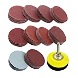 Lock Discs Pads Sanding Sheets 2inch Round Sandpaper Disk Sand Sheets 80-3000 with 1/4 Inch Shank Drill bit Grinder Rotary Tool for Sander Grits 100PCS,Other Hand Tools