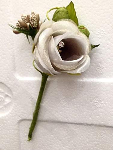 12 PZ Pick Rosa Rosellina ECRU con brillantino decorazione FIORE BOMBONI