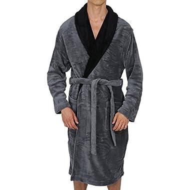 Regency New York Coral Fleece Robe Grey Black Collar Large/X-Large