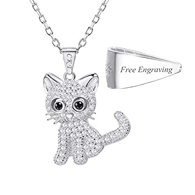 U7 Cat Jewelry Women Girls Link Fashion Platinum/18K Gold Plated Rhinestone Crystal Kitty Cat Pendant Necklace (925 Sterling Silver with Custom Service)