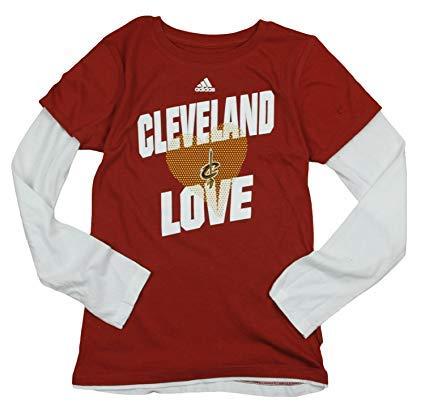 adidas Performance Cleveland Cavaliers Nba Big Girls Camiseta de manga larga con capas - Vino X - Grande 16 - Vino