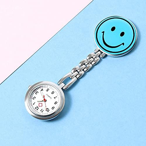 YYMY Cuarzo Colgante médico Relojes de Bolsillo,Bonito Pecho de Enfermera Luminoso, Clip, Reloj de Bolsillo médico, Azul