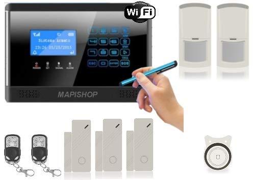 Mapishop CLARENCE Antifurto Allarme Casa Kit nuovo modello 2020, Con INTERNET wifi, Combinatore GSM app Gratuita ios/android, COMPLETAMENTE CONFIGURATO (CLAR slim)