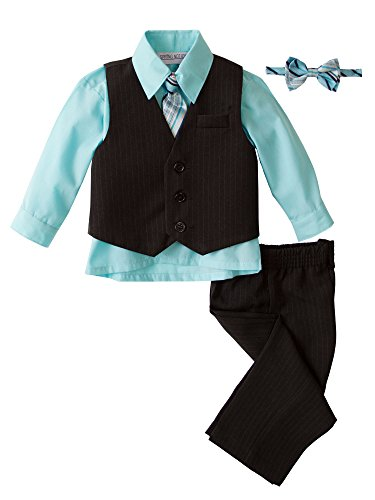 Spring Notion Baby Boys' 5 Piece Pinstriped Vest Set Aqua 12 Months