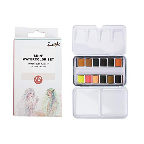 SEAMIART Watercolors Paint Set of 12 Assorted Skin Watercolor Pans in Portable Tin Box for Artists Art Watercolor Painting