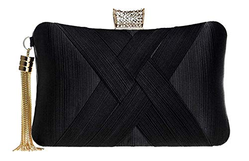 Tanpell Women's Evening Clutch Bags Silk Satin Party Handbags Bridal Wedding Purses with Tassel Pendant Black