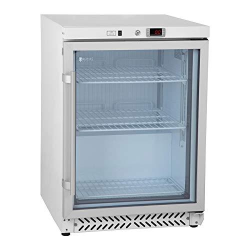 Royal Catering RCGK-W200 Vetrina Refrigerata Verticale Frigo Per Bibite Bevande Porta A Vetro (170 L, 180 W, 230 V, Doppio Vetro, 3 Ripiani, 0-8°C, Refrigerante R600A)