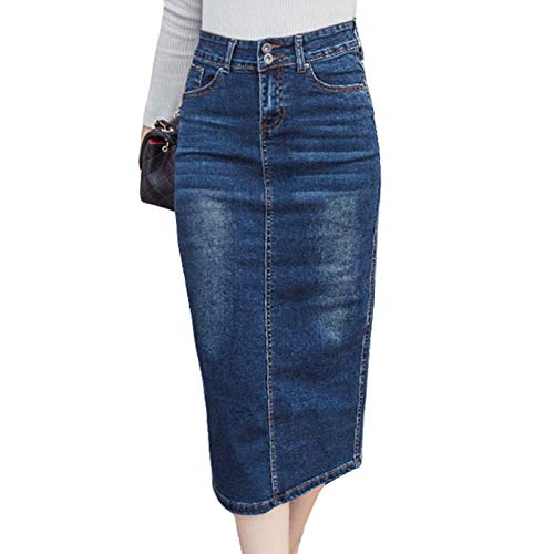 DAHDXD Langer Jeansrock Vintage Button Hohe Taille Bleistift Schwarz Blau Schlank Frauen Röcke Plus Size Damen