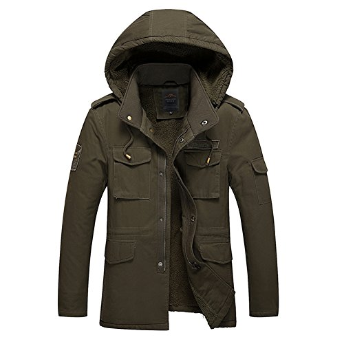 H.T.Niao Jacket8937C1 Men 's Casual Plus Pile Cotton Jackets(Army Green,Size L)