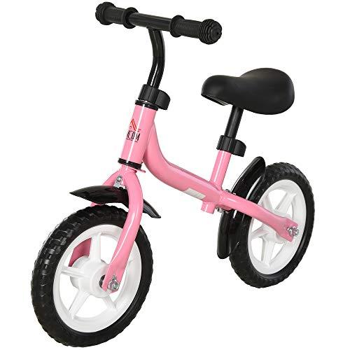 HOMCOM Bicicleta sin Pedales Infantil Altura Ajustable para Principiantes de +3 Años con Ruedas con Relieve Diseño Novedoso Bicicleta de Equilibrio 71x32x56 cm Rosa