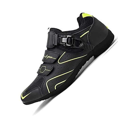 WYUKN Zapatillas de Ciclismo para Hombre Zapatillas de MTB Zapatillas de Ciclismo Zapatillas de Ciclismo de Carretera Planas Sin Sistema de Clic Sin Placa de Zapata,Yellow-40EU