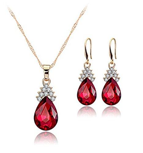 Hosaire Sistemas de la Joyería, Collar Pendientes Diamante Gotitas de Agua Elegante Joyería Mujer Juego de Colgante Cristal Colgante + Pendientes (Rojo)