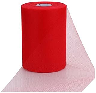 ASIBT 6 Inch x 100 Yards Tulle Roll Spool Fabric Table Runner Chair Sash Bow Tutu Skirt Sewing Crafting Fabric Wedding Party Gift Ribbon (Red)