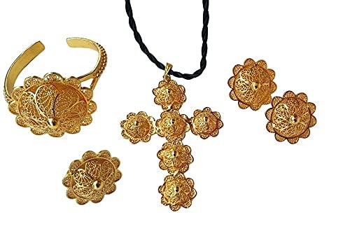 Juego completo chapado en oro con diseño de cruz de malla grande., Oro amarillo,