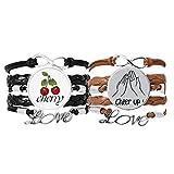 Bestchong Black Clap Pulsera de gesto personalizada con correa de mano de cuero, cuerda de cereza, juego doble