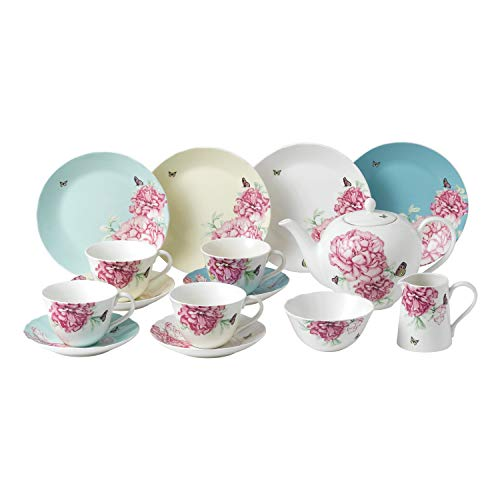 Royal Albert Miranda Kerry Everyday 40034018 - Set da tè, piattino, piatto da 20 cm, teiera, zucchero e panna, 15 pezzi