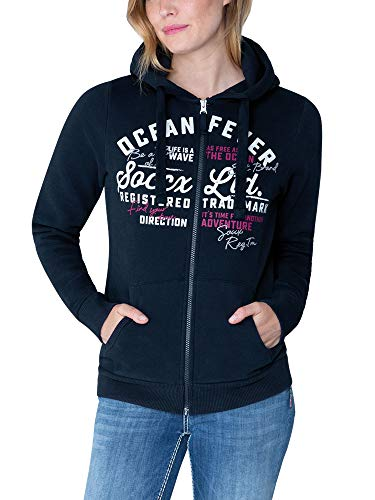 Soccx Damen Hoodie-Jacket mit Glitter Artwork, Blue Navy, M