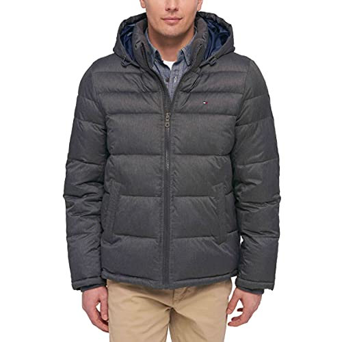 Tommy Hilfiger Men s Hooded Puffer Jacket, Heather Charcoal, XX-Large