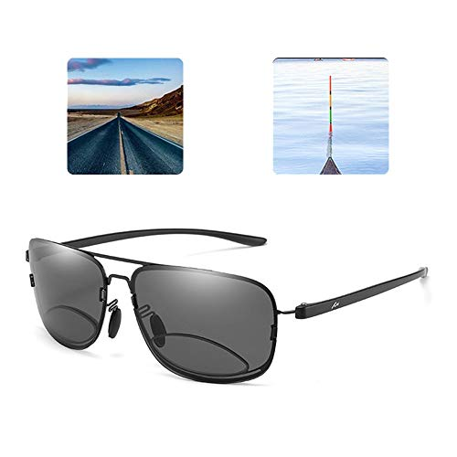 CAOXN Bifokale Presbyopic Lesebrille, Mens Nah Und Fern Dual Use Polarisierte Mode Sonnenbrillen Zum Angeln Fahren Und Walking,Schwarz,+2.50