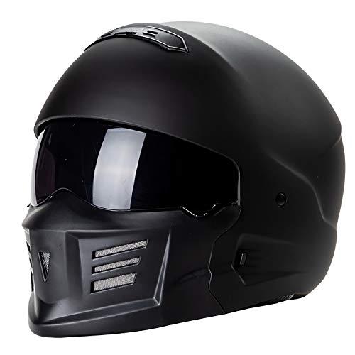QHZ Harley Motorrad Jet Helm Abnehmbares Kinn Eingebautes Objektiv Modular DOT-Zertifizierter Integralhelm 3/4 Integralhelm Pilot Boy Girl Cruiser Integralhelm,3,L