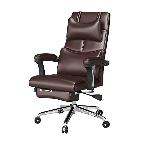 Busirsiz Leather memory foam office chair, adjustable waist support knob and reclining high-back computer chair, comfortable ergonomic design, suitable for home and office
