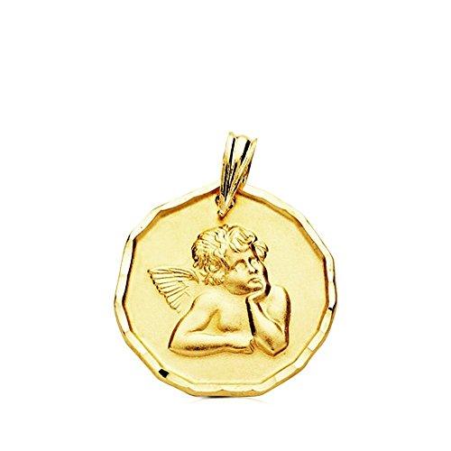 Médaille pendentif 9K Or bord Relief Ange 16 mm Bébé. Bébé clair - personnalisable - enregistrement inclus dans le prix