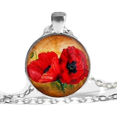 Nuevo Collar de dos amapolas rojas amapolas rojas colgante flor joyería cristal foto cabujón collar