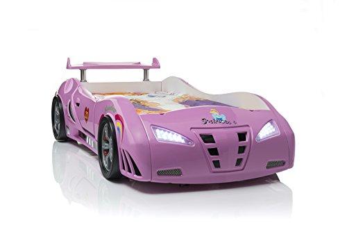 Mädchenbett Autobett Kinderbett Princess in Pink mit Lattenrost und LED