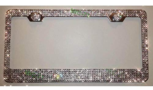 Car Accessories Crystals License Plate Frame Tag 7 Rows Made with Swarovski Crystals Clear