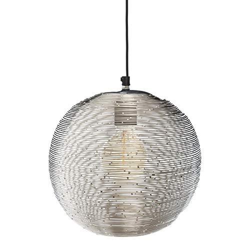 Atmosphera - Suspension en métal Boule striée argentée H 25 cm