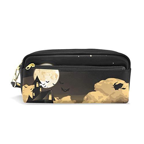 Federmäppchen, BENNIGIRY Happy Halloween Geister Fledermaus aus PU-Leder mit großer Kapazität, Schreibtisch-Organizer mit Reißverschluss für Schule und Büro, 20 x 6 x 8 cm