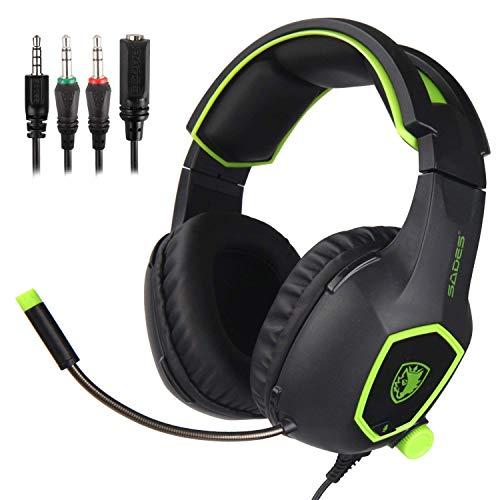 Sades SA708Cuffie per gaming con jack da 3,5mm e microfono (verde)