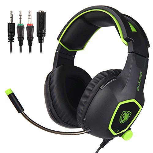 SADES SA-708 Gaming Headset with Mic & Remoter(for volume and mic), Over-Ear Headset Green