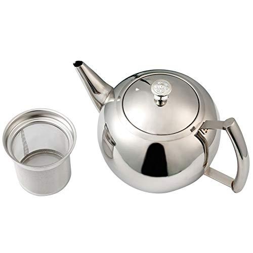 Roestvrijstalen theepot, Home Side handgreep theepot met afneembare zeef voor losse leaf en theezakjes, vaatwasser- en hittebestendig 1,5 l Zoals op de afbeelding.