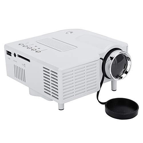 Tosuny Mini Full HD-Projektor, Tragbarer 1080P-unterstützter Beamer, Heimkino mit Multimedia-Funktion, 100,000 Stunden Lampenlebensdauer, mit HDMI/VGA/AV/USB/SD Schnittstellen (weiß)