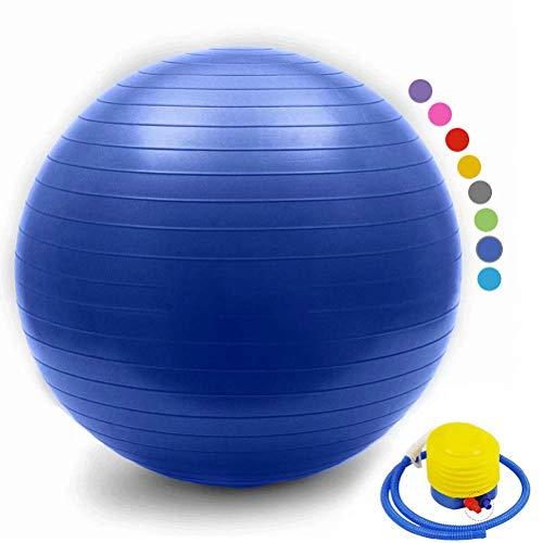 YANGHUI Yoga Ball Ballons de Fitness Professionnel pour Femme Pilates Yoga Grossesse Fitness Sécurité pour l'exercice à la Maison,Bleu 1,25cm