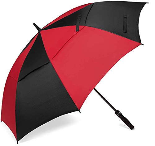 BAGAIL Golf Umbrella 68/62/58 Inch Large Oversize Double Canopy Vented Automatic Open Stick Umbrellas for Men and Women(Red/Black,62 inch)