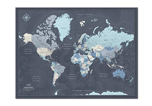 World Map Poster with Pins for Travel Tracking   Laminated Push Pin Travel Map Poster for travel...