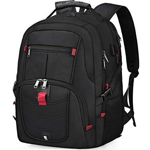Laptop Backpack 18.4 Inch Waterproof Extra Large TSA Travel Backpack Rucksack College School Business Mens Backpacks with USB Charging Port 17.3 Gaming Computer Backpack for Women Men Black