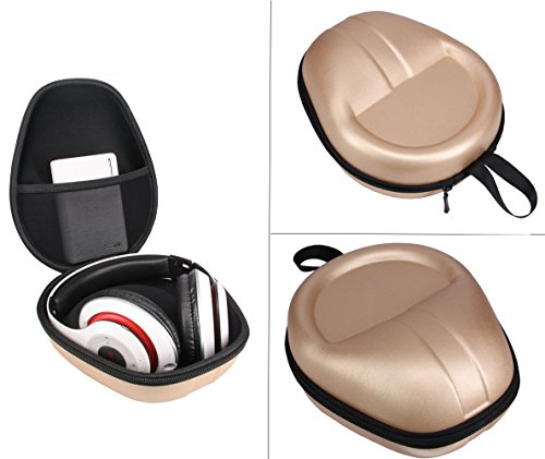 Carrying Headset Headphones Hard Bag Box Cover Case Compatible with Beats Solo3 Beats EP Bose 35 Beats Studio3 Wireless On-Ear Headphone -Extra Space for Phone ,Power Band & Cables (Golden)