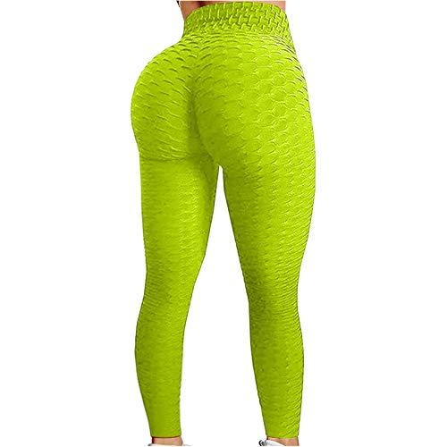 riou 1/2PCS Pantalones de Yoga para Mujer Color Puro Mallas Leggings Push up Mujer Cintura Alta Yoga Pantalón, Sin Costuras para Running Fitness Deporte Transpirables y Elásticos