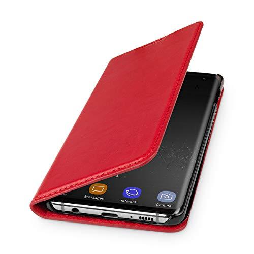WIIUKA Echt Ledertasche - TRAVEL Nature - für Samsung Galaxy S10 - DEUTSCHES Leder - Rot, mit Kartenfach, extra Dünn, Tasche, Premium Leder Hülle kompatibel mit Samsung Galaxy S10