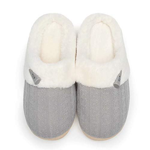 NineCiFun Women's Slip on Fuzzy Slippers Memory Foam House Slippers Outdoor Indoor Warm Plush Bedroom Shoes Scuff with Fur Lining Size 9-10 Light Grey