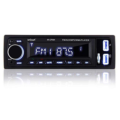 [Verbesserte] ieGeek Autoradio mit Bluetooth Freisprecheinrichtung,USB/MP3/FM/WMA/WAV/TF-Media Player + Fernbedienung,Single Din Universal Autoradio
