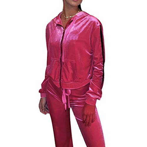 MINTLIMIT Trainingsanzug Damen 2 Stück Outfit Streifen Jogginganzug Frauen Tracksuit Top T-Shirt Lange Hose Beiläufig Sport Velvet_Rosa XL