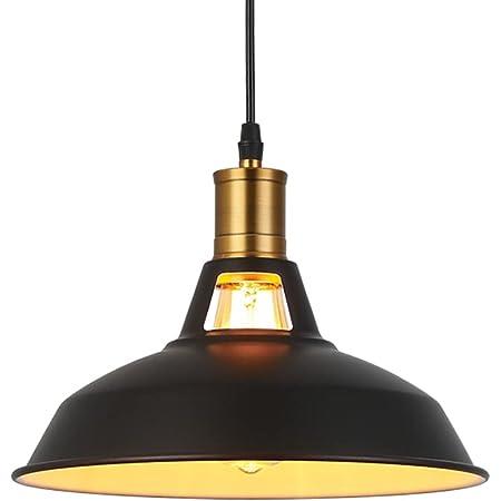 Métal Retro Suspensions Luminaires Industriel Edison Simplicité Lustre Vintage Plafonnier Suspension avec Abat-jour Brillant en Métal Style Nordique